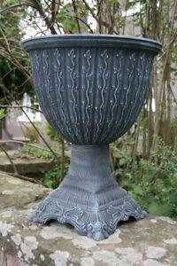 Large Round Vine Leaf Urn Garden Plant Pot Planter Stand Round Tall Slate Grey