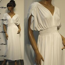 NWT Plus Size L XL 2X NEW Womens Off-White Party Wedding VNeck Maxi Long Dress