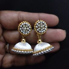 Indian wedding Bridal Wear Stone Silk Thread Small White Jhumki Jhumka Earrings