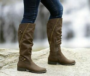 WHITE MOUNTAIN Women's Size 8.5 Dark Brown Knee High Faux Leather Riding Boots