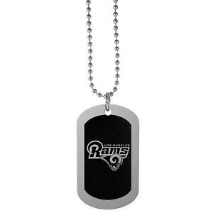 "Los Angeles LA Rams Football Team Logo NFL 26"" Black Chrome Dog Tag Necklace"
