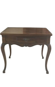 """Vintage John Widdicomb Walnut Matchbook French Country Side Accent Table 26"""""""