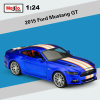Maisto 1:24 Scale Diecast Vehicles Blue 2015 Ford Mustang GT Car Model With Case