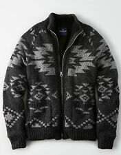American Eagle Mens Classic Cardigan Sherpa Wool Blend Jacket Coat Medium M NEW