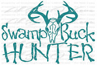 Swamp Buck Hunter Vinyl Decal  Deer Hunting Bow Gun Hunt Sticker Stag Skull