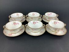 Theodore Haviland Limoges Pink Roses Double Gold SIX (6) Bouillon Cups & Saucers