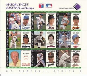 Major League Baseball in Stamps. Two St Vincent 9-Stamp Blocks.  Mint w/COA