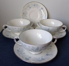 "Wedgwood ~ ""Belle Fleur"" ~ Set of 8 ~ FOOTED CREAM SOUP BOWLS with SAUCERS"