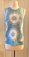 J.CREW COLLECTION EMBROIDERED FLORAL TANK SIZE S BLUE F2072