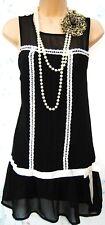 SIZE 16 20s DECO CHARLESTON FLAPPER STYLE RETRO BLACK DRESS ~ EU 44 US 12