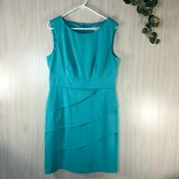 Dressbarn Sleeveless Dress Women's Size 14 Teal Layered Look