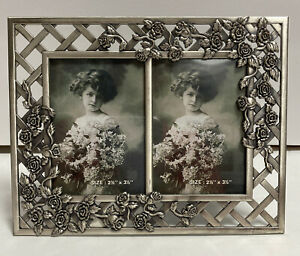 """Linco Pewter Picture frame Double 2 1/2"""" x 3 1/2"""" w/ Roses & Lattice Design New"""