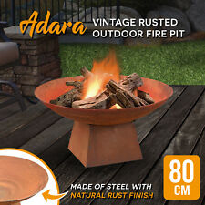 80cm Rusted Fire Pit Outdoor Fireplace Open Patio Heater Garden Plant Bowl Steel