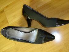 Circa Joan David black patent fabric classic heel pump shoe 10 M