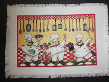 4 Woven WHIMSICAL CHEFS Placemats - NEW, 2nds