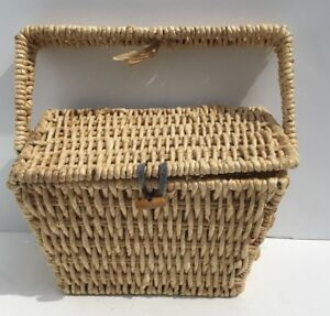 """Basket Woven Raffia Square Metal Handle Lidded With Button Latch 10"""" Across"""