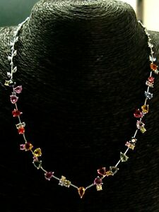Multi Color Sapphire Necklace 18Kt White Gold 8.00Ct 16.5""
