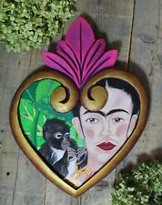 XL Wood Heart Hand Painted Frida Kahlo & Pet Monkey Portrait Mexican Folk Art