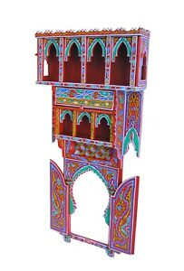 Wall Shelf, Vintage Reproduction, Handmade Moroccan Wood craft, Morocco shelf,