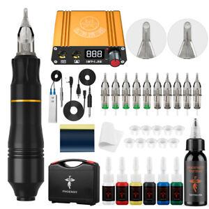 Rotary Tattoo Machine Kit Tattoo Pen Power Supply 10 Needles Tattoo Ink Set