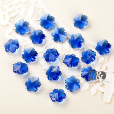 50 Blue Faceted Snowflake Glass Beads Crystal Prisms Chandelier Decor Parts 14mm