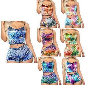 Women Sports Crop Top + Shorts Pants Tie Dye Tracksuit Set Gym Fitness Yoga 2PCS