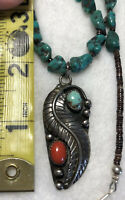 #631 Vintage Navajo Silver Turquoise Coral Pendant, Royston Turquoise Necklace