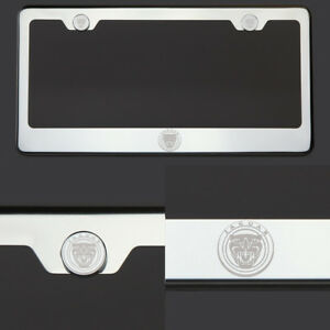 T304 Chrome Polished New Jaguar Logo Laser Etched Engraved license Plate Frame