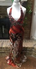 mary l couture Size 2 100% Silk Gown/Evening/Prom Dress Orange/Brown/Rust/Black