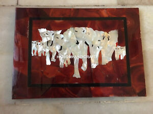"18""x24"" Marble Side Coffee Table Top Mother Of Pearl Elephants Inlay Work H4367A"