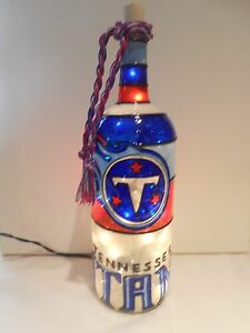 Tennessee Titans inspired Wine Bottle Lamp Stained Glass look Lighted