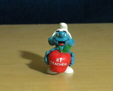Smurfs 20160 # 1 Teacher Red Apple Smurf Rare Vintage Figure PVC Toy Figurine