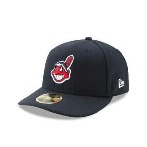 NEW ERA CLEVELAND INDIANS 59FIFTY AUTHENTIC COLLECTION LOW PROFILE HAT NAVY FITT