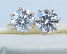 Beautiful Genuine 1.10ct Diamond Stud Earrings 18K Yellow Gold