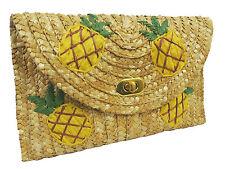 Vintage style 1940's1950's Hawaiian Tiki Tuti Fruiti Pineapple Straw Clutch Bag