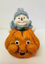 Enesco Snow Buddies Snowman Orange Pumpkin Boo Buddy Twin Grins Halloween