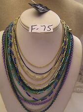Saks Fifth Ave Necklace Multi enamel Link chain Seed Bead Glass Gold Jewelry 17""