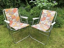 Pair Vtg Retro 70/80's Floral Deck Chairs Picnic Festival Camping Camper PROP