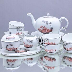 Nymphenburg: Teeservice Landschaft in Eisenrot und Schwarz 1628 Teetasse tea cup