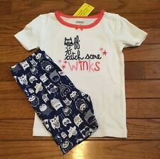NEW GYMBOREE GIRLS BLUE WHITE SHORT PAJAMAS SIZE 3 OWL OFF TO CATCH SOME WINKS