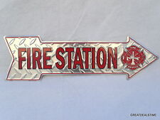 """FIREFIGHTER,FIRE STATION,SIGN,""""MAN CAVE"""" HOUSE DECOR STREET ARROW SIGNS RESCUE"""