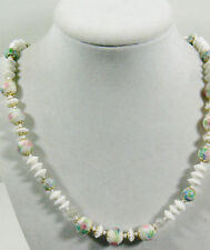 "VINTAGE WHITE MILK GLASS PINK & BLUE FLORAL ART GLASS BEADS NECKLACE 20""L"