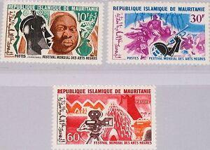 MAURITANIA MAURETANIEN 1966 273-75 203-05 Intl. Negro Arts Festival Kunst MNH