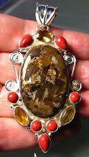 *sale* 925 silver 29gr large bronzite/coral/cut quartz pendant.