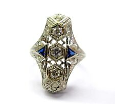 and Sapphire Ring Wg 18Kt Fine Vintage Old European Cut Diamonds
