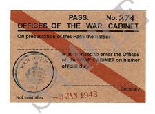 WW2 WAR OFFICE PASS / CARD (Exact Copy)