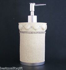 NEW WHITE MOP DOTTED RESIN+SHELL CLAM+CRYSTAL RHINESTONE SOAP+LOTION DISPENSER