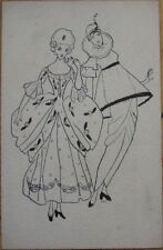 1905 Hand-Drawn, Original Art Postcard - Art Deco Clown & Woman