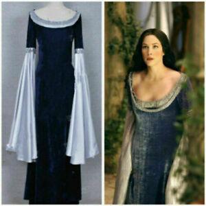 The Lord of the Rings Cosplay Arwen Costume Gown Lady Blue Dress