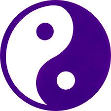 23134 Yin Yang Emblem Purple 1960s Tao Taoism Meditative New Age Sticker / Decal